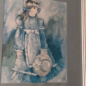 Blue Victorian girl in field by M. Storm set of 2